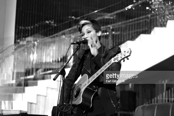 Singer Butterscotch performs at Living Room lounge at W Hollywood on April 6 2017 in Hollywood California