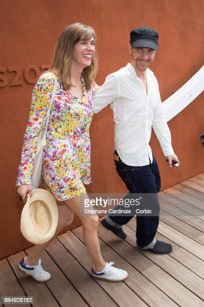 Singer Calogero and his companion Marie Bastide attend the Men Final of the 2017 French Tennis Open Day Fifteen at Roland Garros on June 11 2017 in...