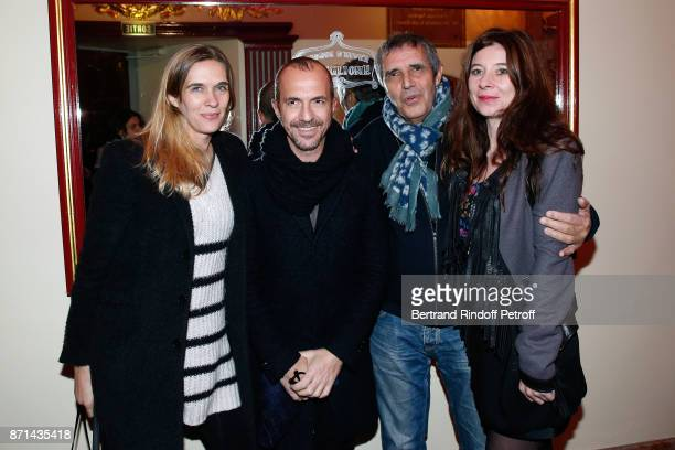 Singer Calogero and his companion Marie Bastide Julien Clerc and his wife Helene Gremillon attend 'Depardieu Chante Barbara' at Le Cirque d'Hiver on...
