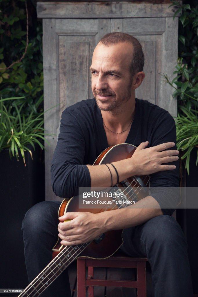 Singer Calogero is photographed for Paris Match on August 25, 2017 in Paris, France.