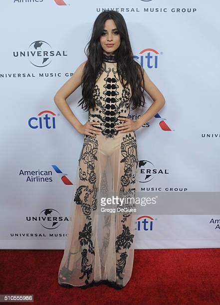 Singer Camila Cabello of Fifth Harmony arrives at Universal Music Group's 2016 GRAMMY After Party at The Theatre At The Ace Hotel on February 15 2016...