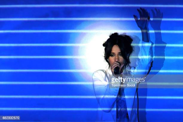 Singer Camila Cabello performs onstage at the Nickelodeon's 2017 Kids' Choice Awards at USC Galen Center on March 11 2017 in Los Angeles California
