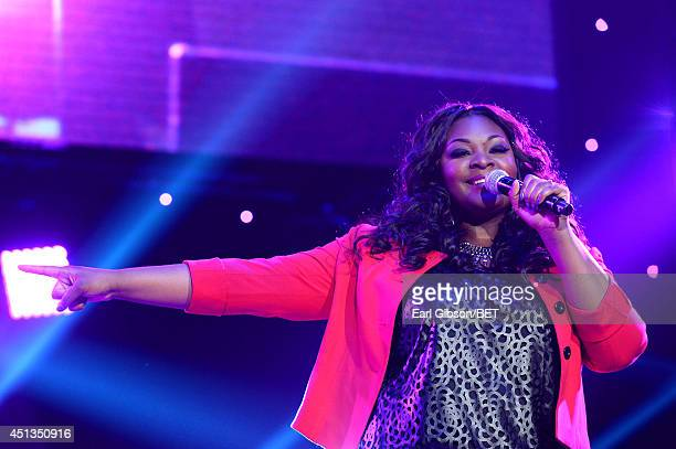 Singer Candice Glover performs onstage at the Maxwell Jill Scott Marsha Ambrosius and Candice Glover concert during the 2014 BET Experience At LA...