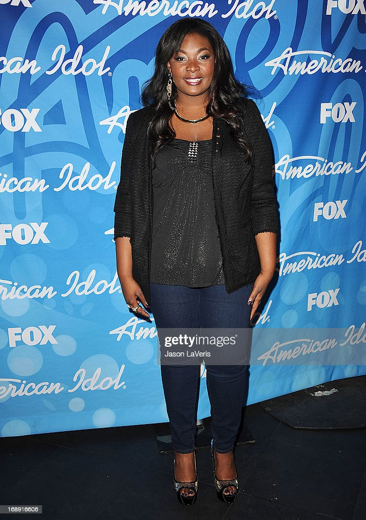 Singer Candice Glover poses in the press room at the American Idol 2013 finale at Nokia Theatre L.A. Live on May 16, 2013 in Los Angeles, California.