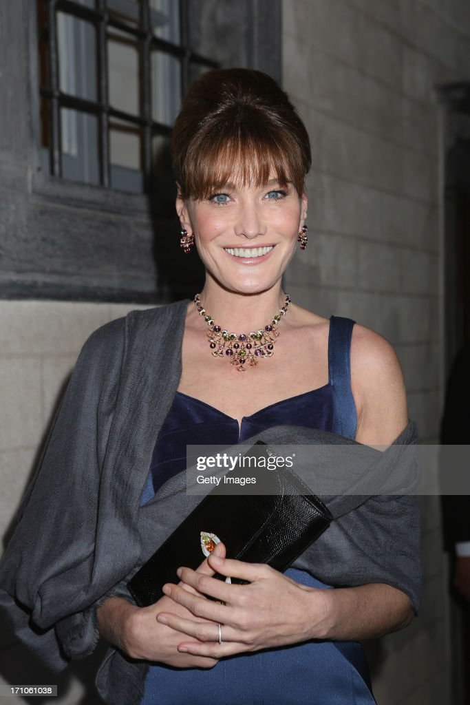 Singer <a gi-track='captionPersonalityLinkClicked' href=/galleries/search?phrase=Carla+Bruni&family=editorial&specificpeople=235729 ng-click='$event.stopPropagation()'>Carla Bruni</a> attends the Bulgari High Jewellery Diva Collection presentation on June 20, 2013 in Portofino, Italy.