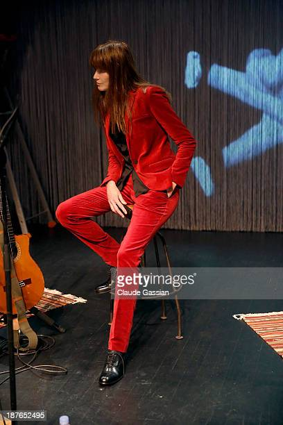 Singer Carla Bruni is photographed exclusively backstage and in concert at the Espace Carpeaux on November 9 2013 in Courbevoie France