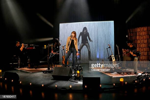Singer Carla Bruni is photographed exclusively during rehearsals prior to performing in concert at the Espace Carpeaux on November 8 2013 in...
