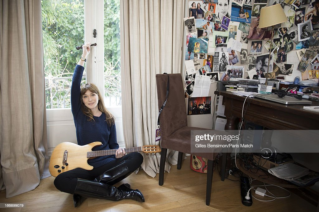 Singer <a gi-track='captionPersonalityLinkClicked' href=/galleries/search?phrase=Carla+Bruni&family=editorial&specificpeople=235729 ng-click='$event.stopPropagation()'>Carla Bruni</a> is photographed for Paris Match on April 1, 2013 in Paris, France.