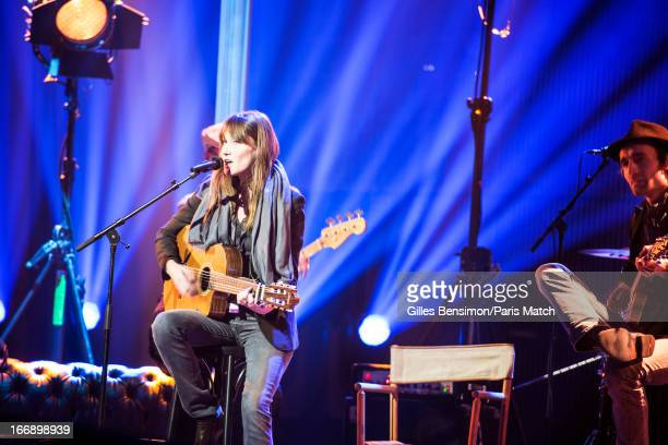 Singer Carla Bruni performs at the Echo Music Awards where she sings from her new album Little French Songs photographed for Paris Match on April 1...