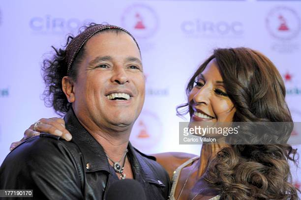 Singer Carlos Vives and actress Amparo Grisales attend the Latin GRAMMY Acoustic Session at Country Club de Bogota on August 21 2013 in Bogota...