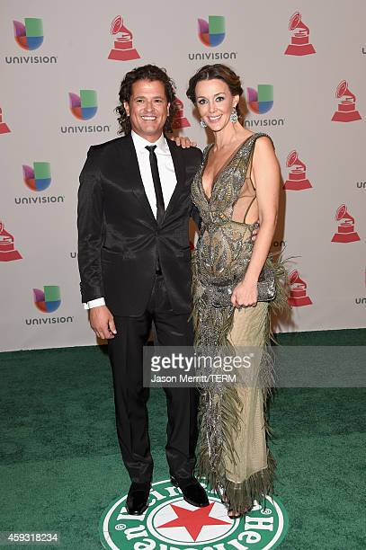 Singer Carlos Vives and Claudia Elena Vasquez attend the 15th Annual Latin GRAMMY Awards at the MGM Grand Garden Arena on November 20 2014 in Las...