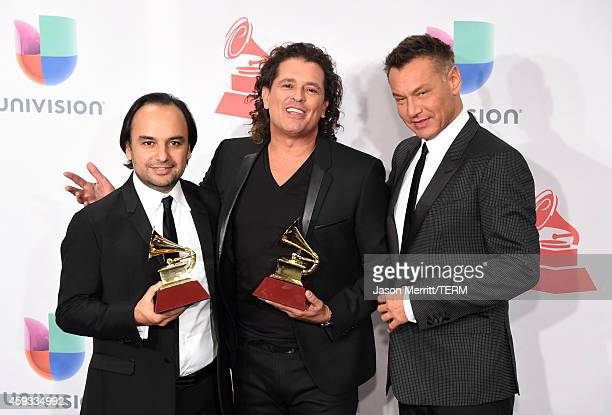 Singer Carlos Vives and producer Andres Castro winners of Best Tropical Album attend the 15th Annual Latin GRAMMY Awards at the MGM Grand Garden...