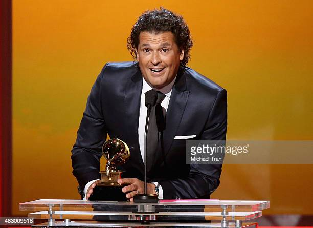 Singer Carlos Vives speaks onstage during The 57th Annual GRAMMY Awards premiere ceremony at STAPLES Center on February 8 2015 in Los Angeles...