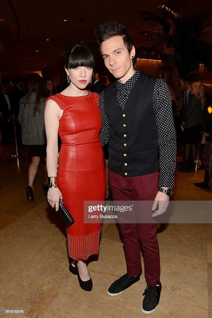 Singer Carly Rae Jepsen (L) and Matthew Koma arrive at the 55th Annual GRAMMY Awards Pre-GRAMMY Gala and Salute to Industry Icons honoring L.A. Reid held at The Beverly Hilton on February 9, 2013 in Los Angeles, California.