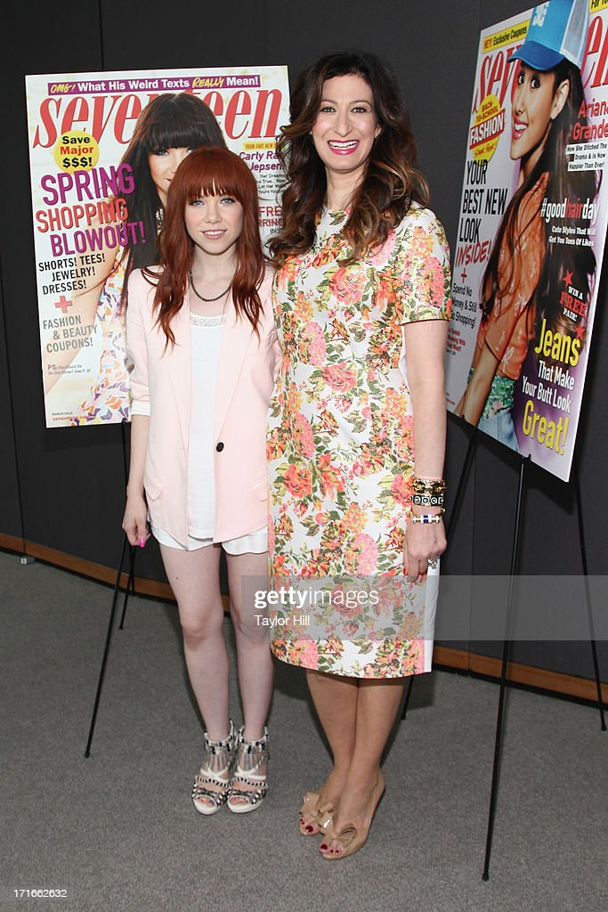Singer Carly Rae Jepsen and Seventeen Magazine editor-in-chief Ann Shoket attend the Seventeen Magazine Luncheon Honoring 'Pretty Amazing' Finalists at Hearst Tower on June 27, 2013 in New York City.