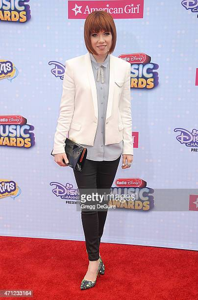 Singer Carly Rae Jepsen arrives at the 2015 Radio Disney Music Awards at Nokia Theatre LA Live on April 25 2015 in Los Angeles California