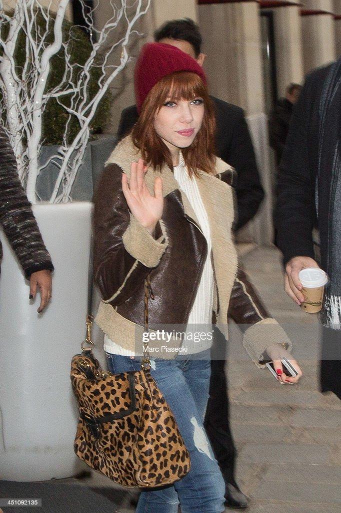Singer Carly Rae Jepsen leaves her hotel on November 21, 2013 in Paris, France.