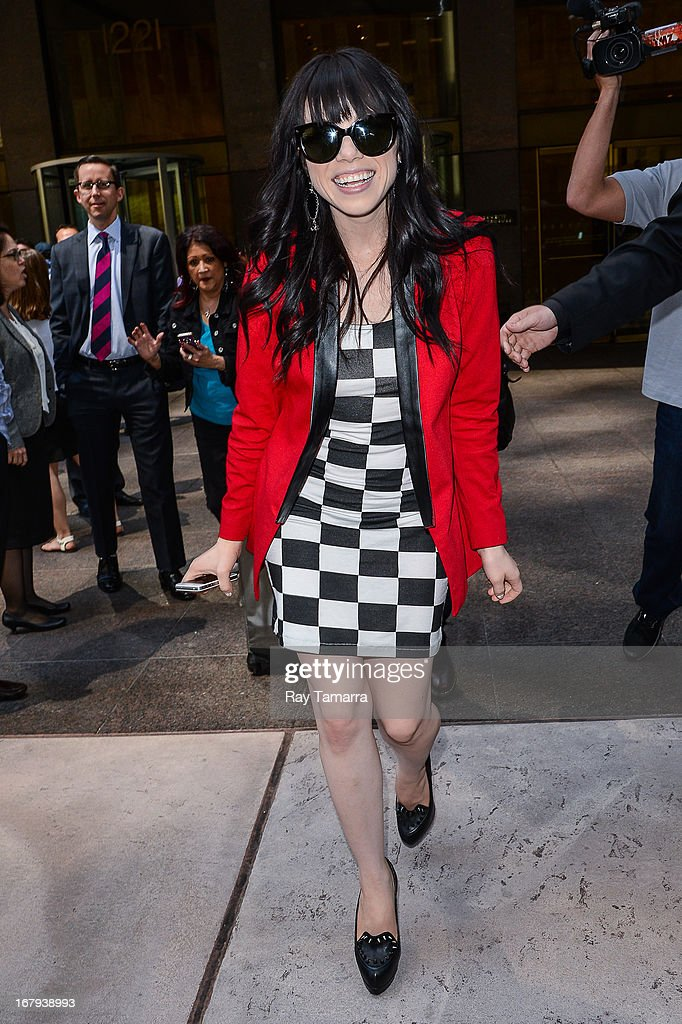 Singer Carly Rae Jepsen leaves the Sirius XM Studios on May 2, 2013 in New York City.