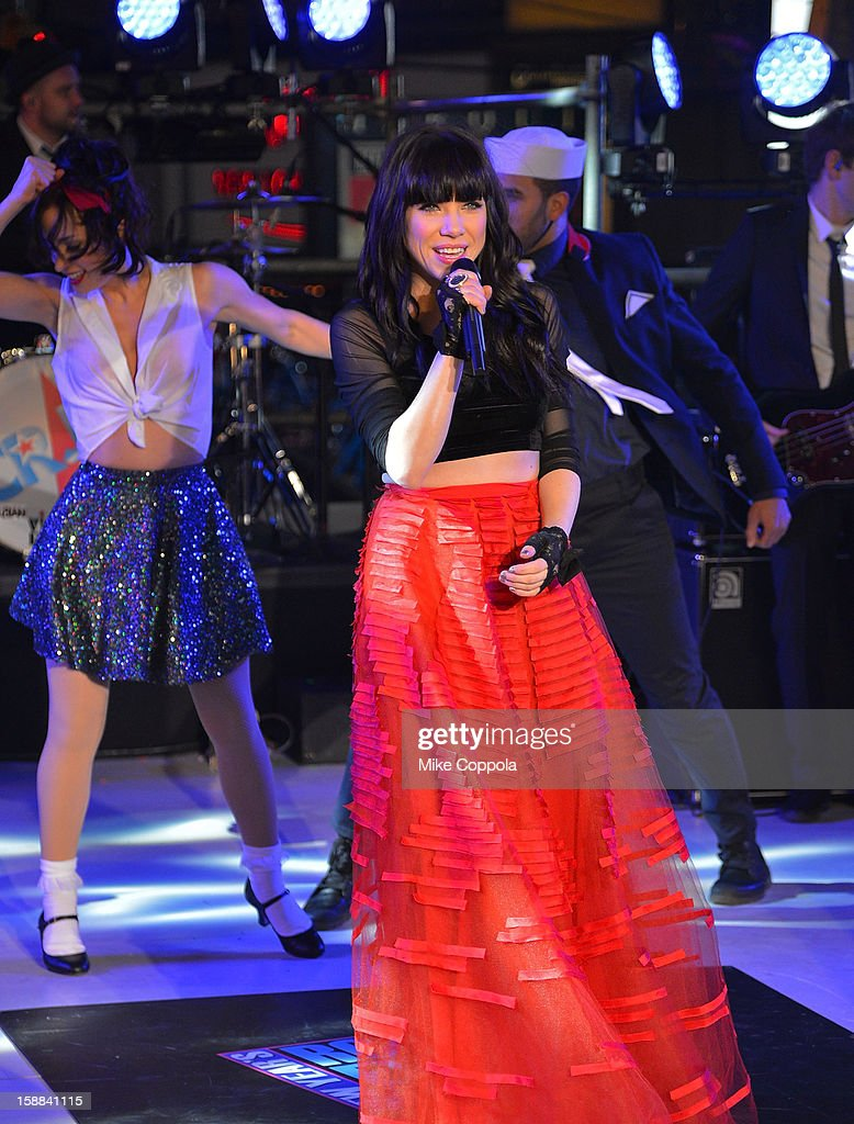 Singer Carly Rae Jepsen peforms during New Year's Eve 2013 In Times Square at Times Square on December 31, 2012 in New York City.