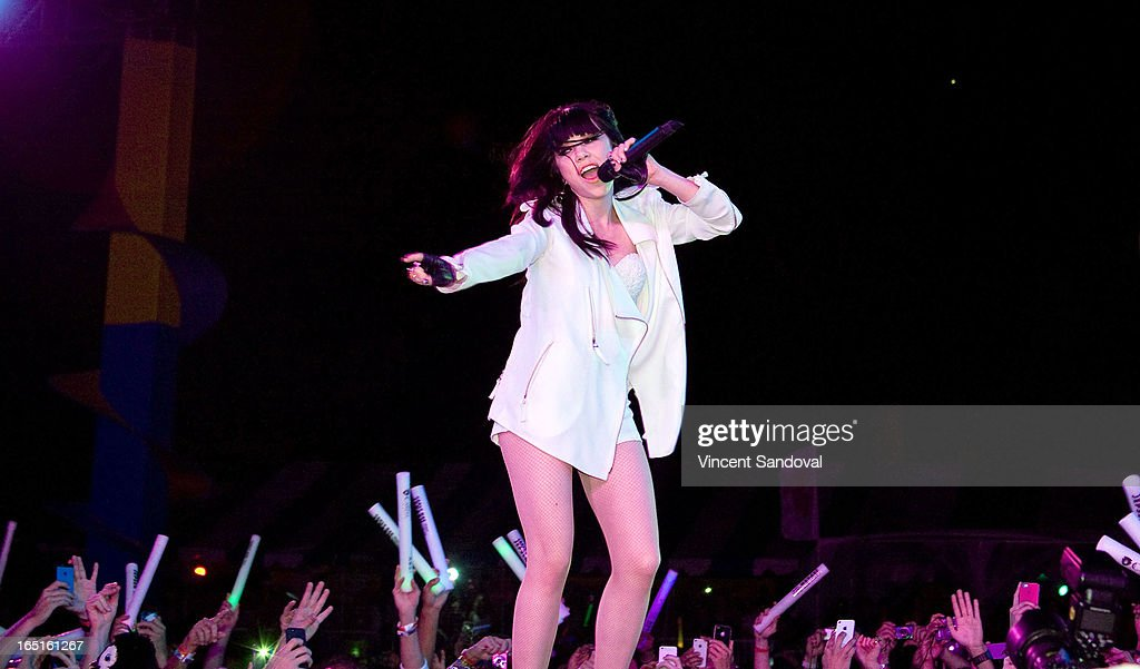 Singer Carly Rae Jepsen performs at the Circus Xtreme T-Dance during Jeffrey Sanker presents White Party Palm Springs 2013 Day 3 at the White Party Park on March 31, 2013 in Palm Springs, California.