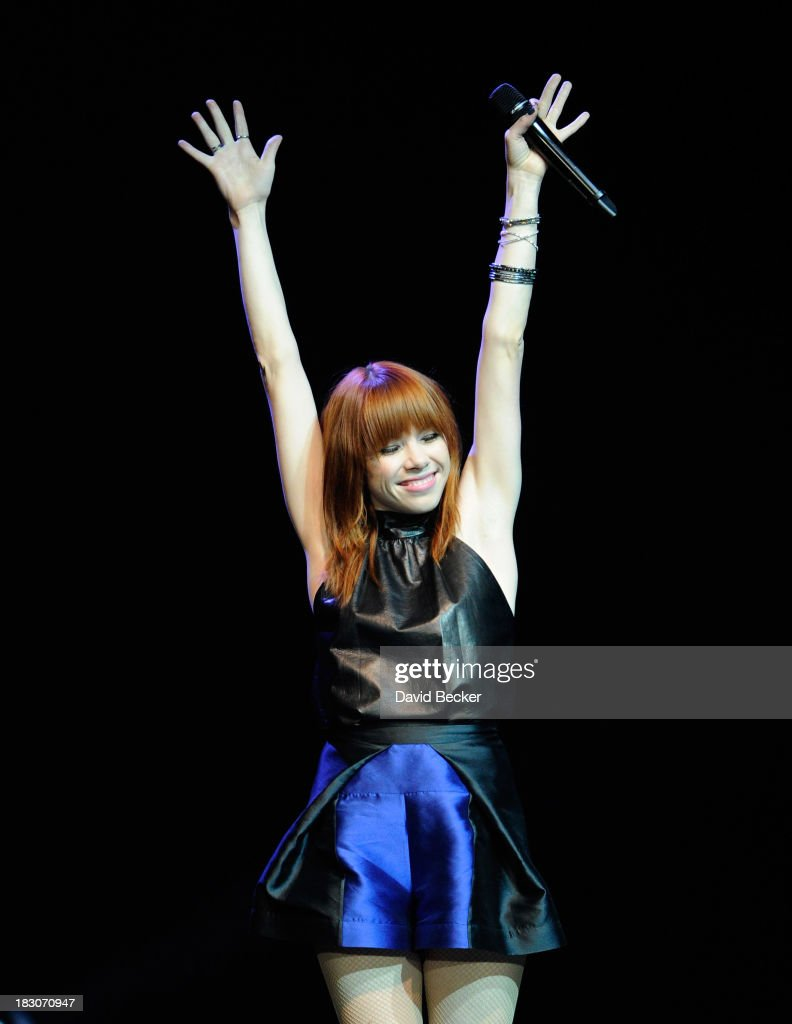 Singer <a gi-track='captionPersonalityLinkClicked' href=/galleries/search?phrase=Carly+Rae+Jepsen&family=editorial&specificpeople=6903584 ng-click='$event.stopPropagation()'>Carly Rae Jepsen</a> performs at the 'UniteLIVE: The Concert to Rock Out Bullying' at the Thomas & Mack Center on October 3, 2013 in Las Vegas, Nevada.
