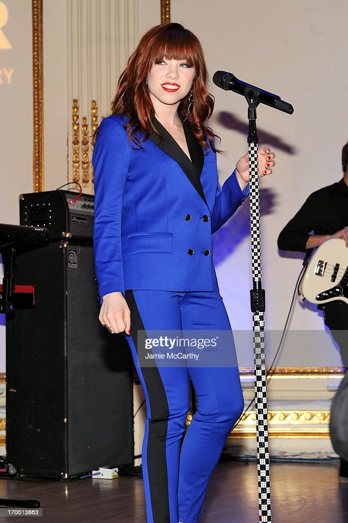 Singer Carly Rae Jepsen performs during the 4th Annual amfAR Inspiration Gala New York at The Plaza Hotel on June 13, 2013 in New York City.