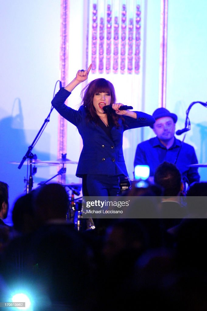 Singer <a gi-track='captionPersonalityLinkClicked' href=/galleries/search?phrase=Carly+Rae+Jepsen&family=editorial&specificpeople=6903584 ng-click='$event.stopPropagation()'>Carly Rae Jepsen</a> performs during the 4th Annual amfAR Inspiration Gala New York at The Plaza Hotel on June 13, 2013 in New York City.