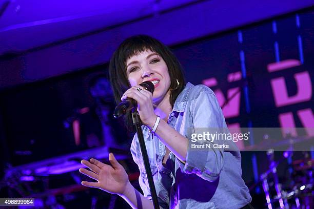Singer Carly Rae Jepsen performs on stage at Macy's Herald Square on November 12 2015 in New York City