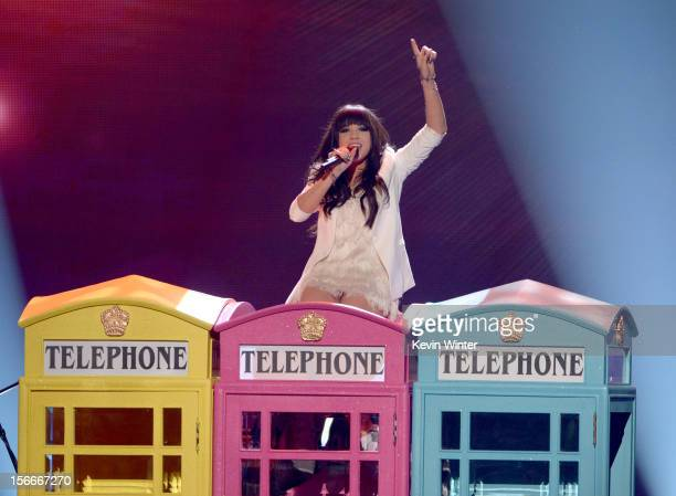 Singer Carly Rae Jepsen performs onstage during the 40th American Music Awards held at Nokia Theatre LA Live on November 18 2012 in Los Angeles...