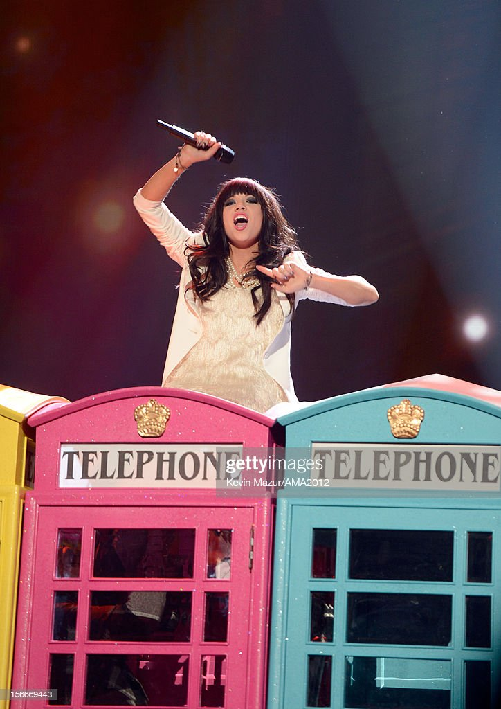 Singer Carly Rae Jepsen performs onstage during the 40th American Music Awards held at Nokia Theatre L.A. Live on November 18, 2012 in Los Angeles, California.