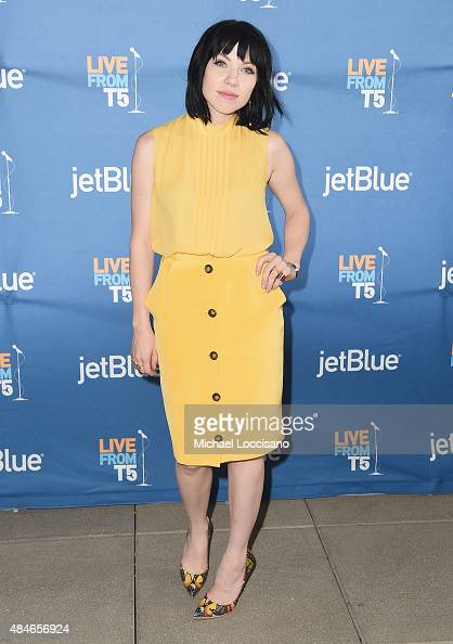 Singer Carly Rae Jepsen poses after performing for JetBlue's Live From T5 at John F Kennedy International Airport on August 20 2015 in New York City