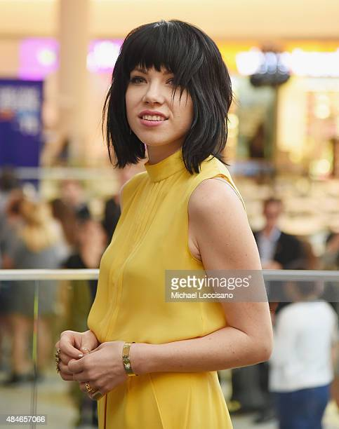 Singer Carly Rae Jepsen poses before performing for JetBlue's Live From T5 at John F Kennedy International Airport on August 20 2015 in New York City