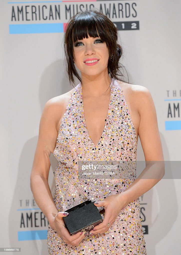 Singer Carly Rae Jepsen poses in the press room at the 40th American Music Awards held at Nokia Theatre L.A. Live on November 18, 2012 in Los Angeles, California.
