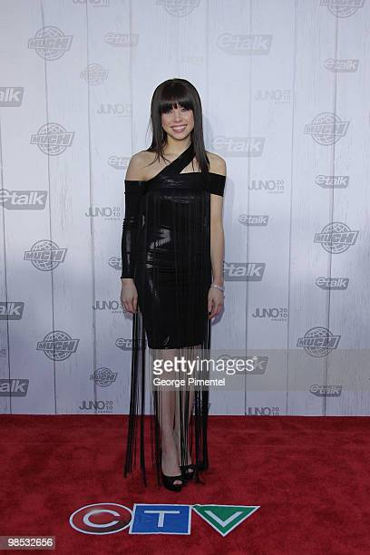 Singer Carly Rae Jepsen poses on CTV's Red Carpet at the 2010 Juno Awards at the Mile One Centre on April 18 2010 in Saint John's Canada