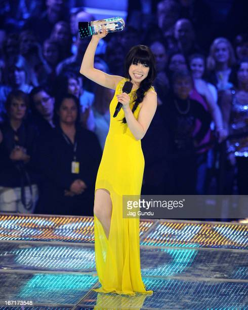 Singer Carly Rae Jepsen wins album of the year and single of the year at the 2013 Juno Awards held at the Brandt Centre on April 21 2013 in Regina...