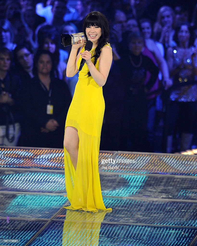 Singer Carly Rae Jepsen wins album of the year and single of the year at the 2013 Juno Awards held at the Brandt Centre on April 21, 2013 in Regina, Canada.