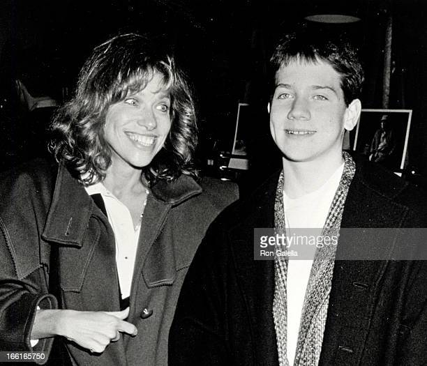 Singer Carly Simon and son Benjamin Taylor attending the premiere of 'Danny The Champion' on November 18 1989 at the Ziegfeld Theater in New York...