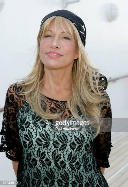 Singer Carly Simon poses on the deck of the ship Queen Mary 2 before setting sail on a historic Transatlantic crossing that is being filmed for an...
