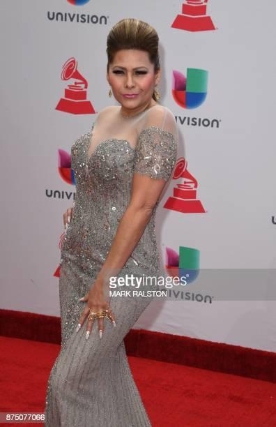 Singer Carmen Jara arrives for the 18th Annual Latin Grammy Awards in Las Vegas Nevada on November 16 2017 / AFP PHOTO / Mark RALSTON
