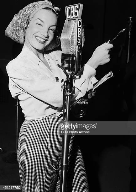 Singer Carmen Miranda performs on the CBS radio program 'ELGIN CHRISTMAS SHOW' on December 25 in Los Angeles California
