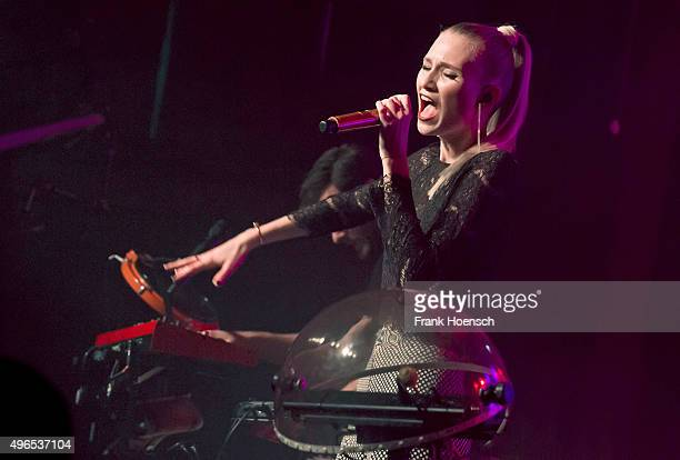 Singer Carolin Niemczyk of the German band Glasperlenspiel performs live during a concert at the Postbahnhof on November 7 2015 in Berlin Germany
