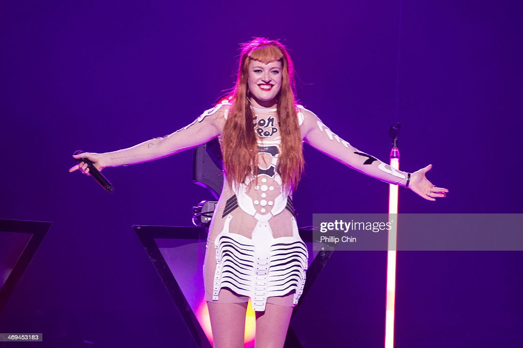 Singer Caroline Hjelt of Icona Pop opens for Miley Cyrus 'Bangerz Tour' tour opener at Pepsi Live at Rogers Arena on February 14, 2014 in Vancouver, Canada.