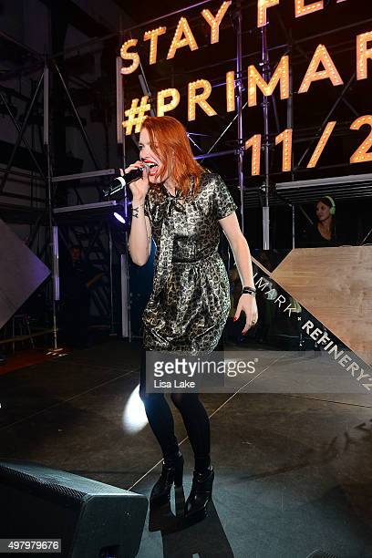 Singer Caroline Hjelt of Icona Pop performs at The Keke Palmer Refinery29 Host Club Primania Event at Skybox Event Center on November 19 2015 in...
