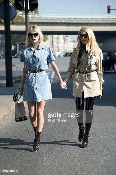 Singer Caroline Vreeland wears a Kenzo dress and bag Max Mara sunglasses and Dior shoes with Fashion Designer Shea Marie who wears a Kenzo dress...