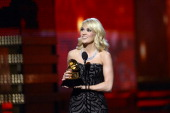 Singer Carrie Underwood accepts Best Country Solo Performance award for 'Blown Away' onstage at the 55th Annual GRAMMY Awards at Staples Center on...