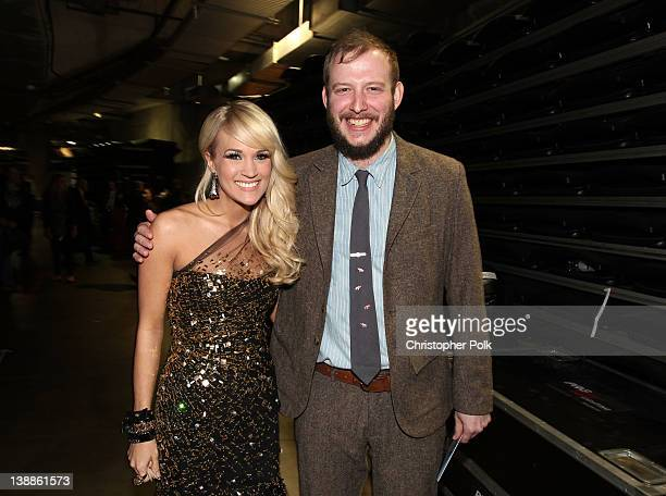 Singer Carrie Underwood and musician Justin Vernon of Bon Iver attend The 54th Annual GRAMMY Awards Media Center at Staples Center on February 12...