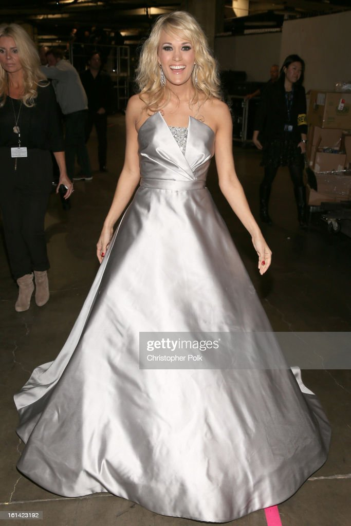 Singer <a gi-track='captionPersonalityLinkClicked' href=/galleries/search?phrase=Carrie+Underwood&family=editorial&specificpeople=204483 ng-click='$event.stopPropagation()'>Carrie Underwood</a> appears onstage during the 55th Annual GRAMMY Awards at STAPLES Center on February 10, 2013 in Los Angeles, California.
