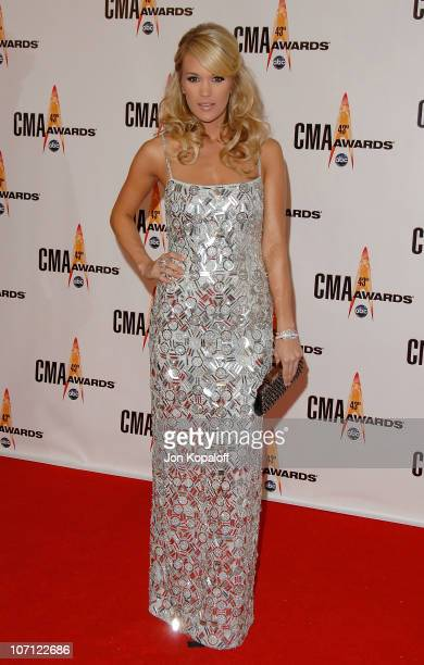 Singer Carrie Underwood arrives at the 43rd Annual CMA Awards at the Sommet Center on November 11 2009 in Nashville Tennessee