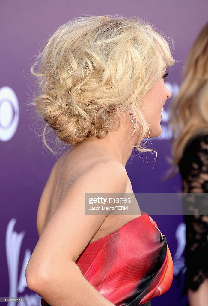 Singer Carrie Underwood arrives at the 48th Annual Academy of Country Music Awards at the MGM Grand Garden Arena on April 7, 2013 in Las Vegas, Nevada.