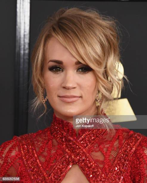Singer Carrie Underwood arrives at the 59th GRAMMY Awards at the Staples Center on February 12 2017 in Los Angeles California